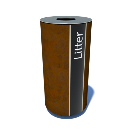 Streetscape single waste bin with label